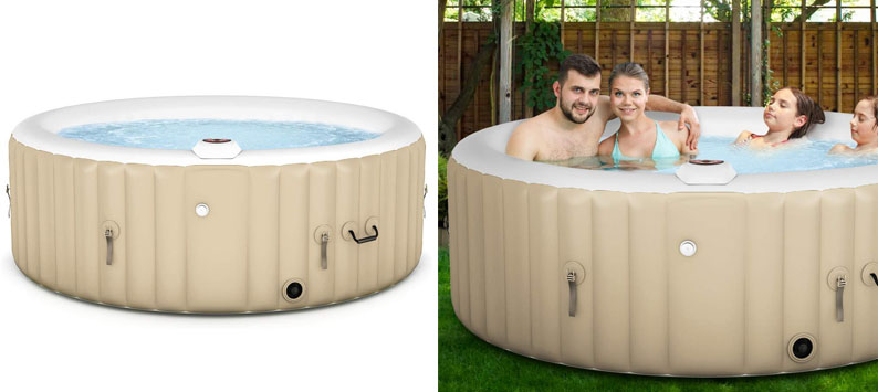 Goplus 4-6 Person Outdoor Spa Inflatable Hot Tub for Portable Jets Bubble Massage