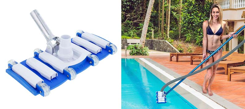 U.S. Pool Supply 14 Weighted Flexible Concrete Swimming Pool Vacuum Head