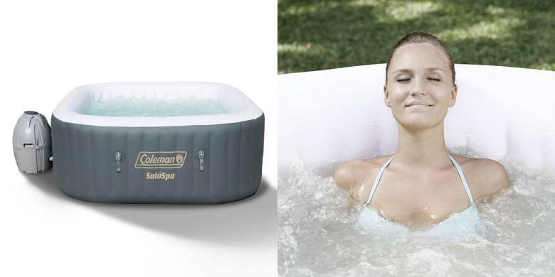 Coleman 4 Person Saluspa Airjet Inflatable Spa in Gray